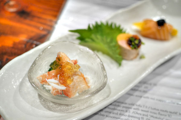 King Crab Salad / Monkfish Liver / Smoked Salmon and Mango with Caviar