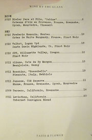 Faith & Flower Wine List