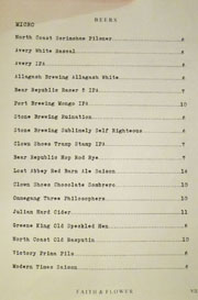 Faith & Flower Beer List