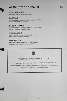 Bourbon Steak Glendale Cocktail List