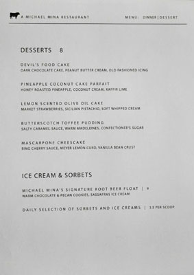 Bourbon Steak Glendale Dessert Menu