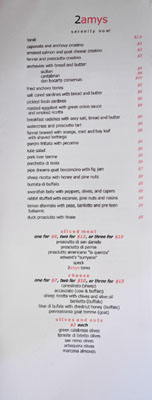 2Amys Wine Bar Selections Menu