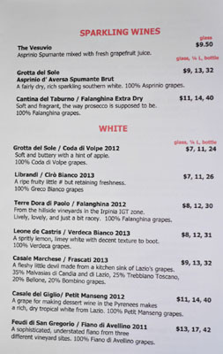 2Amys Wine List: Sparkling/White