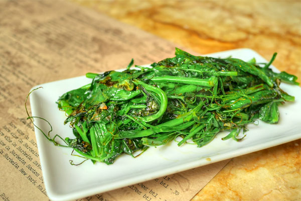 Sautéed Pea Shoots, Olive Oil & Sea Salt