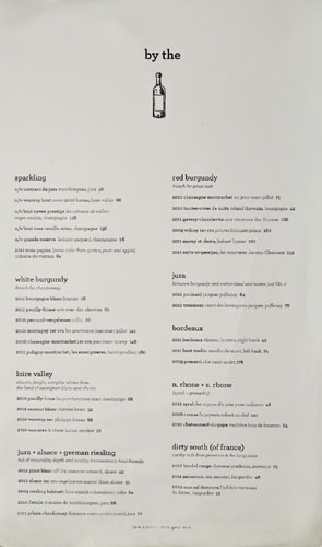 Superba Food + Bread Wine List