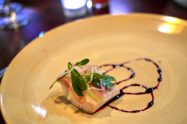 KING SALMON - Soured Celtuce - Radish - Beet Syrup