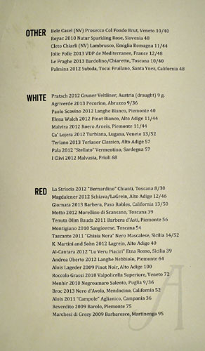 Alimento Wine List