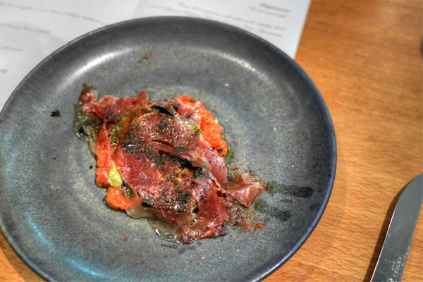 Tomato pulp, charred eggplant, jamón ibérico de bellota, smoked tomato