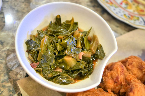 dashi braised collard greens with bacon