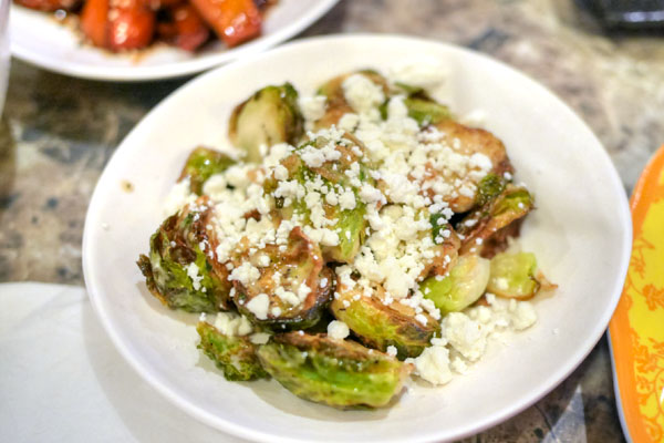 fried brussels sprouts with goat cheese and karashi mustard