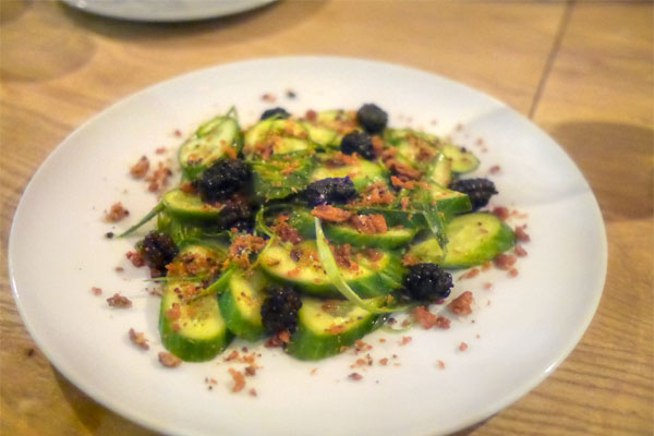 Persian Cucumbers, from Rutiz Farm with Persian mulberries, Ora king salmon crackling, scallion, mint