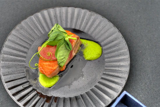 Arctic Char with Peas and Pickled Rhubarb