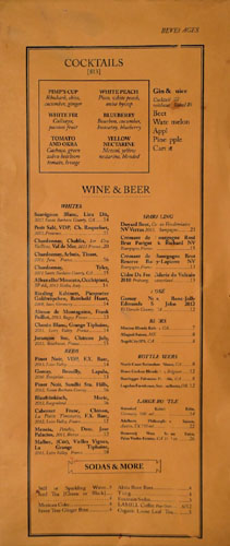 Commissary Beverage Menu