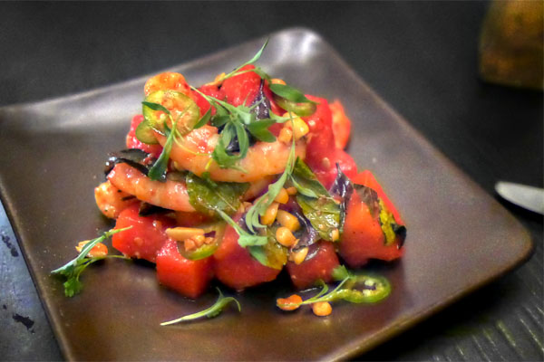 shrimp & watermelon salad, chili vinaigrette, peanuts, summer herbs