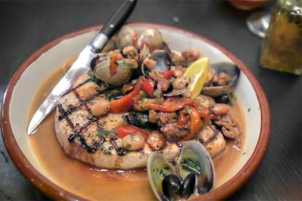 grilled swordfish, red pepper, clams, olive, caper, basil, spicy sausage