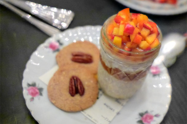 carolina gold rice pudding, stone fruit, pecan sandies