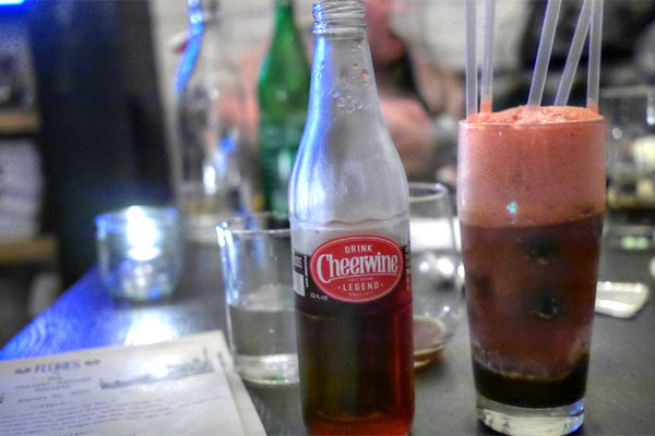 cheerwine float, chocolate chip I.C., bourbon cherries