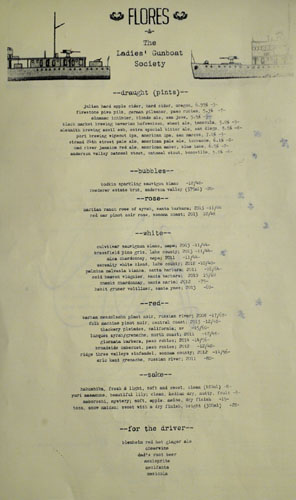 Ladies' Gunboat Wine List