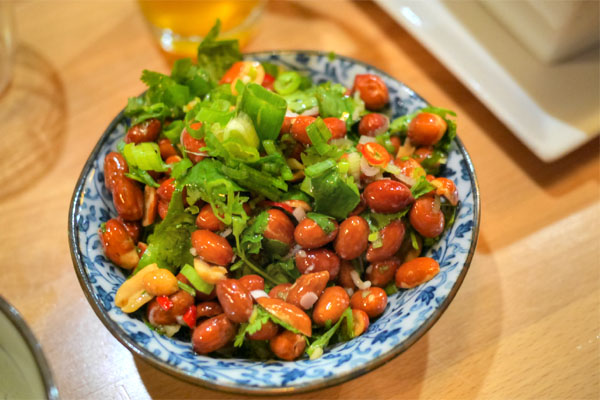 Spicy peanuts, chilis, cilantro, scallions, vinegar