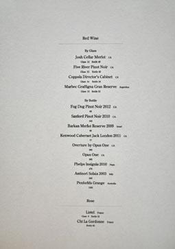 Sushi Tsujita Wine List