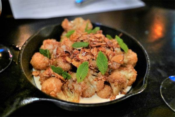 Fried Cauliflower, Tahini, Pomegranate Molasses, Toasted Almond, Mint