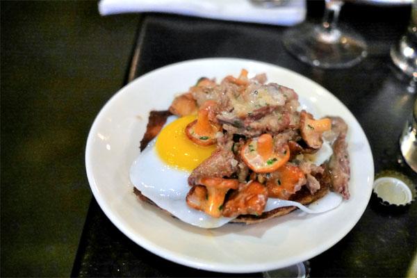 Saskatchewan Chanterelles, Duck Confit, Creme Fraiche, Duck Egg, Shallot, Garlic, Thyme, Chive, Grilled Bread