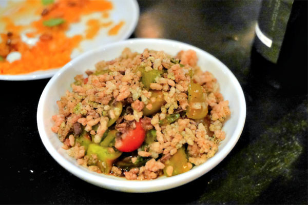 Heirloom Tomato Poke, Spicy Sesame Oil, Fancy Soy, Burnt Onion, Nori Rice Crunch