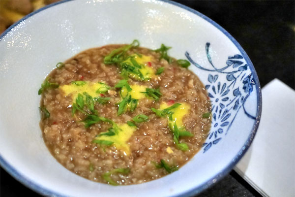 Crab Rice Porridge, Abalone Liver Butter, Egg Yolk, Scallion
