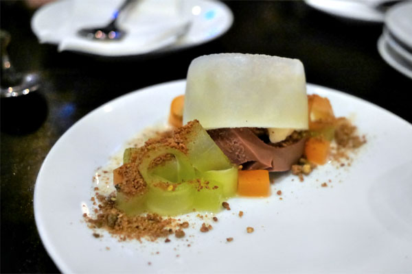 Honeydew 'condensed milk', Pistachio Cookie Crumble, Milk Chocolate