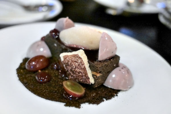 Chocolate Cheese Cheesecake, Concord Grape, Ancho Chili & Cocoa Soil, Verjus