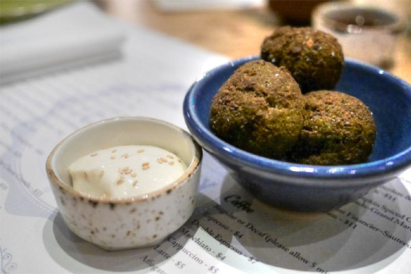 English Pea Falafel with Truffled Tahini Sauce
