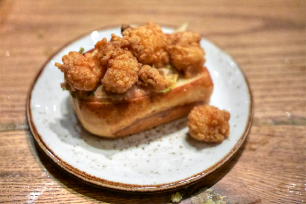 Shrimp Po' Boy with Pickled Egg Remoulade on House Made Brioche