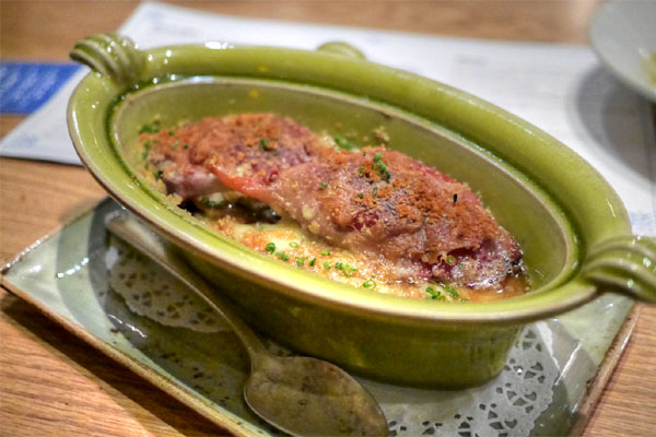 Duck Confit 'Cassoulet'~Scarlet Runner Beans~Benton's Smoked Ham~Aged Cheddar Cheese Crumbs
