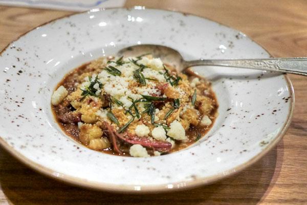 Hand Rolled Cavatelli Pasta~Braised Lamb Shoulder~Cauliflower~Pinenuts~Castlemagno Cheese