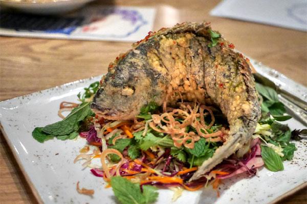 Whole Fried Market Fish~'Nuoc Cham'~Cabbage & Carrot Salad~Thai Basil~Crispy Shallots