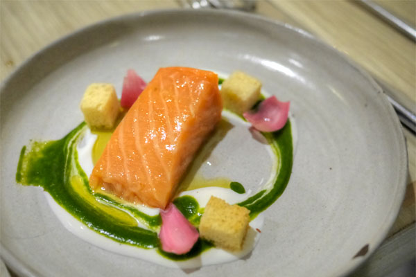 Lightly smoked salmon with watercress-yogurt emulsion, pickled cippolini and brioche