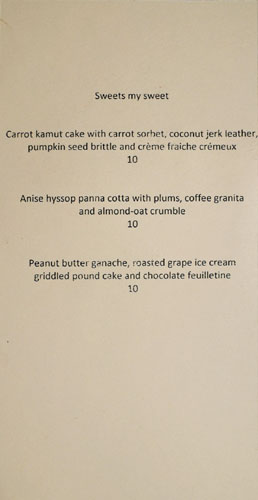 Saint Martha Dessert Menu