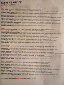 Father's Office Draft Beer List
