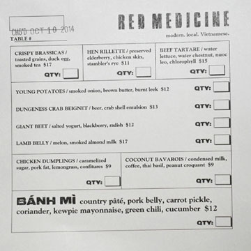 Red Medicine Bar Menu