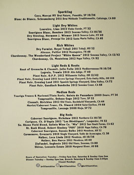 Brilliantshine Wine List