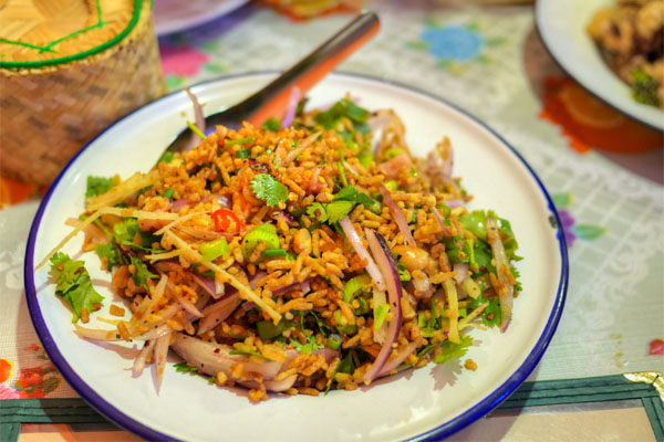 nam khao tod | crispy rice salad