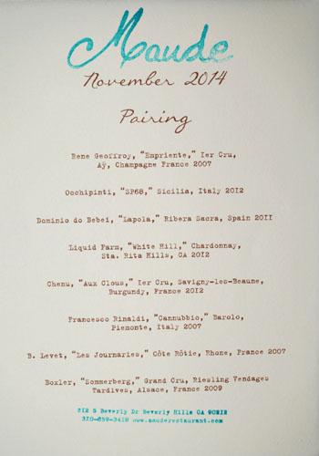 Maude Wine Pairing: Truffles, November 2014
