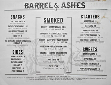 Barrel & Ashes Menu