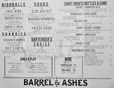 Barrel & Ashes Drink List