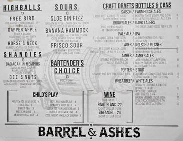 Barrel & Ashes Drink List