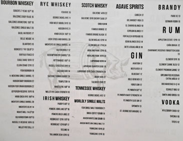 Barrel & Ashes Spirits List