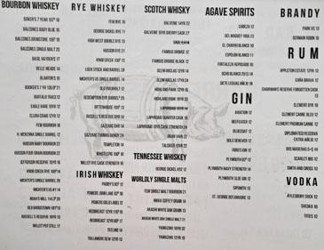 Barrel & Ashes Spirits List