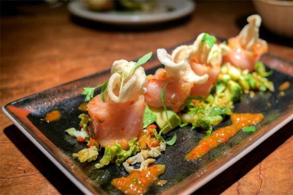 Hamachi, napa cabbage, nam chim, avocados, shrimp chips, cilantro