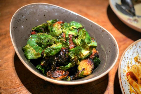 Brussels, bacon, Nam Prik Pao, mint, cilantro, basil