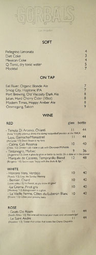 The Gorbals Beer/Wine List